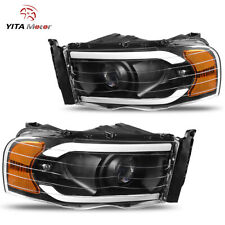 Yitamotor Led Drl Black Projector Headlights For 02-05 Dodge Ram 1500 2500 3500 (Fits: Dodge)