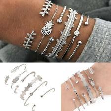 6Pcs/Set Boho Multilayer Pineapple Bracelet Crystal Leaves Charm Bangle Jewelry