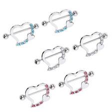 3 Pair Heart Barbell 16g Rhinestone Nipplering Bar Nipple Shield Piercing
