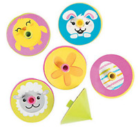 Pack of 24 - Easter Spin Tops - Chick, Bunny, Eggs, Lambs Party Loot Bag Fillers