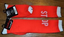 Body Rage Knee High Socks RED STOP Sock Size 9-11 New with Tags