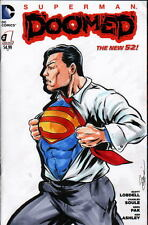DC Sketch Cover SUPERMAN DOOMED Original Full Artwork by Artist DAMON BOWIE