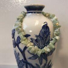 """Stone Chips 10"""" Long Anklet Handmade Ankle Bracelet Large Green Marble Granite"""