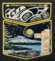 NISQUALLY OA LODGE 155 PACIFIC GLOW IN THE DARK TOTEM GMY NOAC 2015 2-PATCH