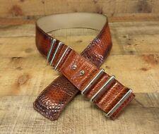 Traibecca Leather Belt Alligator Print Croc 7044 Waist Wide Brown 32