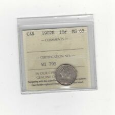 **1902H**, ICCS  Graded Canadian,  10  Cent, **MS-65**