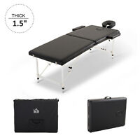 2 Section Massage Table Couch Bed Portable Adjustable Black