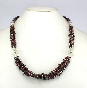 Necklace Almandine Garnet Natural Gemstone Semi Precious Handmade beads jewelry