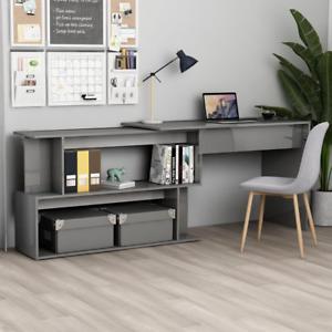 Home Office Corner Desk High Gloss Grey 200x50x76 cm Chipboard