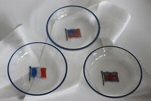 Verres Emaillés Drapeaux Alliés France Etats Unis Grande Bretagne Guerre