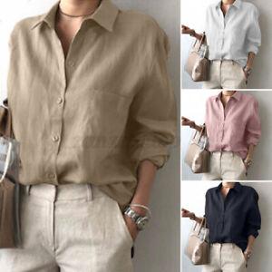 Women Collared Button Down Tunics Tops Shirt V Neck Linen Cotton Blouse Tee Plus