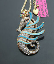 616L Betsey Johnson crystal Enamel Sea horse Pendant Sweater Chain Necklace