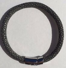 GRAY STINGRAY LEATHER BRACELET MAGNETIC LOCK 20cm