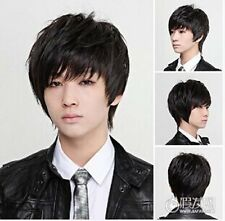 Men's Short Black Male Hot Boys Wig New Korean 50% Human Hair Cosplay Wigs PO172
