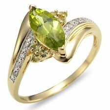 Size 7 Jewelry Woman Emerald Cut Peridot Bridal 10K Gold Filled AAA Fashion Ring