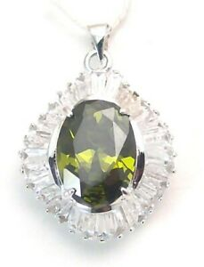 Solid Sterling Silver 5.5 carat Green Solitaire Pendant
