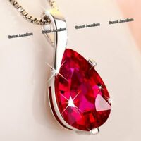 BLACK FRIDAY Red Crystal Necklace Love Silver Xmas Gift For Her Girlfriend Women