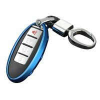 Car Key Case Chain for Nissan Infiniti Ring Fob Cover Holder Accessories Bl W8K2