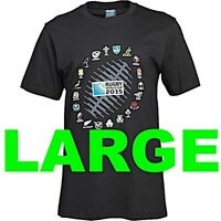 England Rugby World Cup 2015 Mens Boys T Shirt Tee Large L BLACK RWC 20 Nations