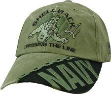U.S. Navy Shellback Hat Crossing the Line - USN OD Green Baseball Cap Hat