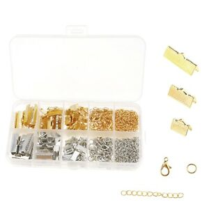370pcs Ribbon Bracelet Clasps Clamp Jewelry Beading Making Kit with Case