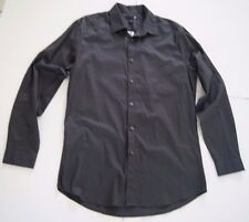 JF J. Ferrar Long Sleeve Casual Shirt Iron Gray Solid Striped Large Slim Fit $50