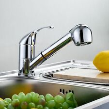 Single Lever Swivel Spout Kitchen Faucet Chrome Pull-Out Spray Sink Mixer Tap