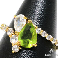 Sparkling Pear Cut Peridot Ring Women Engagement Jewelry Gift Yellow Gold Plated
