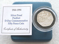1994 Piedfort D-Day Landings 50p Fifty Pence Silver Proof Coin Box Coa