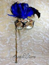 Blue Musical Stick Feather Mask Mardi Gras Venetian Ball Masquerade Mask Party