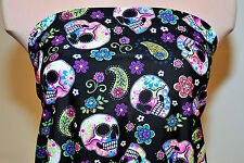 LYCRA SPANDEX SKULL PRINT  MULTI-COLORED  FABRIC   BTY  DANCE GYMNASTICS