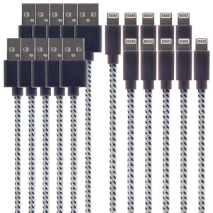 iPhone / iPad MFI Certified Lightning Cable 10-Pack (1.2m, Blue)