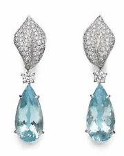 18Ct Pear Cut Aqua Topaz Synt Diamond Dangle Drop Earrings White Gold Fns Silver