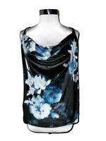 NEW WHITE HOUSE BLACK MARKET Size XL Black Blue Floral Velvet Cowl Sleeveless