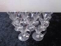 9 x Design Kristall Kelchglas mit Henkel - Handgeschliffen / Mundgeblasen