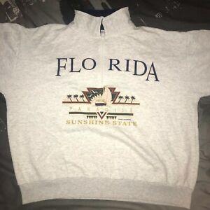 Womens Florida Paradise Sunshine State 1/4 Zip Hoodie, US Size - L / XL Vintage