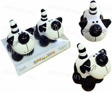 Novelty Cat Salt and Pepper Shaker Pots Mill Set Black and White Kitten