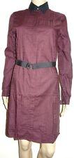 Fred Perry Tonal Check Shirt Dress Mahogany UK Size 8 VR56 022