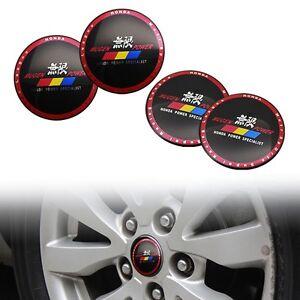 4Pcs 56.5mm MUGEN POWER Car Rim Steering Wheel Center Hub Cap Badge Stickers