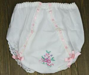 Vintage Double Seat Baby Child Bloomers Panty Hand Embroidered Painted sz 4 NEW