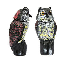 Large Realistic Owl Decoy Rotating Head Weed Pest Control Crow Scarecrow ED #1