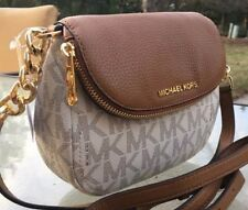 NEW MICHAEL KORS BEDFORD MK VANILLA SIGNATURE BROWN  LEATHER FLAP CROSSBODY  BAG