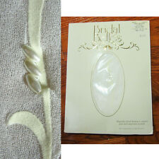 Sheer to Waist  WHITE PANTYHOSE Flocked Leaf w OVAL PEARLS Over Ankle SX Bridal