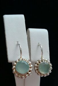 924 Sterling Silver Earrings With Beading- Misty Blue Stone - Hook Style - India
