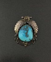 Vintage Southwestern Turquoise Sterling Silver Pin Brooch Pendant