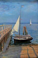 Ludwig DILL ? - Segelboot an einem Steg