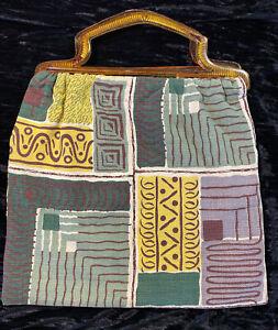 Vintage Bark Cloth Knitting Bag Tortoise Lucite Plastic Handles Mid Century