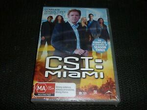 CSI MIAMI COMPLETE SEASON THREE (6 DISC) (DVD, MA15+) (164435 A) NEW SEALED!