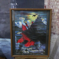 "COUNT DRACULA Completed Wood Framed Jigsaw Puzzle Art Under Glass 17"" x 21"""