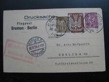 DEUTSCHES REICH 1923 scarce Bremen - Berlin airmail postcard!